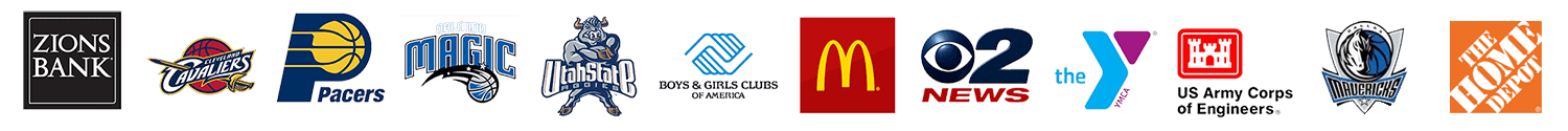 Zions Bank, Cleveland Cavaliers, Pacers, Orlando Magic, Utah State Aggies, Boys & Girls Clubs of America, McDonald's, 02 News, YMCA, Dallas Mavericks, The Home Depot