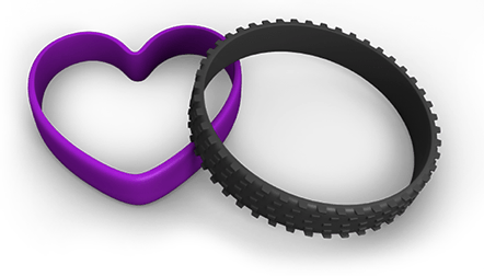 Customized heart and tire wristbands