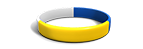 Segmented Yellow, Blue, and White Silicone Wristband